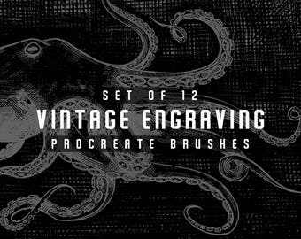 Vintage engraving Procreate Brushes - Digital Drawing brushes - Set of 12 brushes - For the iPad app Procreate - Digital brushes
