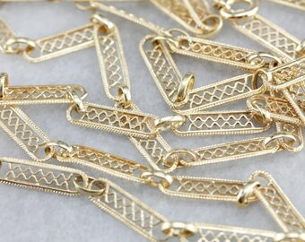 Filigree Bar Link Chain, Yellow Gold Necklace, Long Chain, Yellow Gold Chain AEEU7569-P