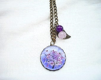 Purple tree of life necklace
