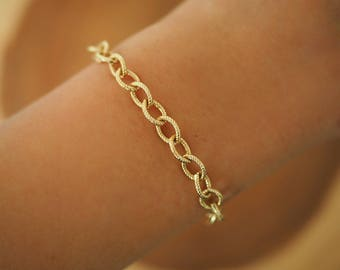 14k Gold Chunky Chain  Bracelet/ Real Gold Bracelet / Gold Filled Jewelry/ Dainty Jewelry/ Thick Gold Chain Bracelet / Dainty Bracelet