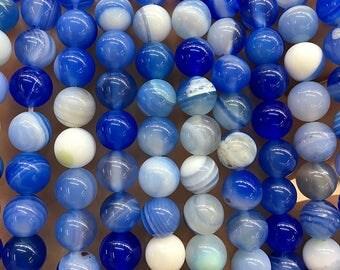 Blue White Agate Beads, Natural Agate Gemstone Beads, Stone Beads, Smooth Round Agate Beads, 6mm 8mm 10mm 12mm 15'' Strand