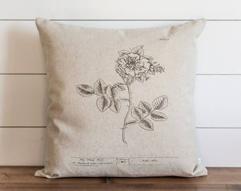 Botanical White Rose 20 x 20 Pillow Cover // Everyday // Herbs // Gift // Accent Pillow