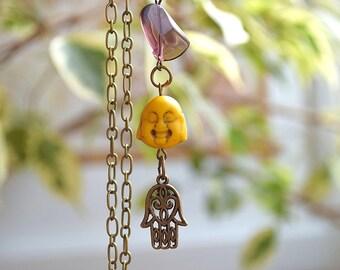 Happy Buddha necklace meditation yoga Asia pendant spiritual charm chain fatima hand Hamsa jewelry Asian zen Buddhism Buddha indie kabbalah