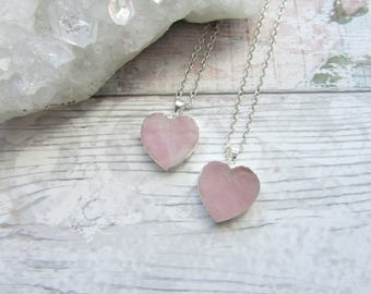 Rose Quartz Heart Pendant - Pink Gemstone Necklace - Silver Plated Electroplate Jewellery - Small Chic Necklace