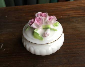 Napcoware Bone China Small Round Trinket Box Pink Flowers