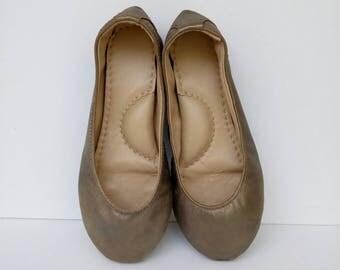 Handmade pewter leather ballet flat slipper shoes custom made