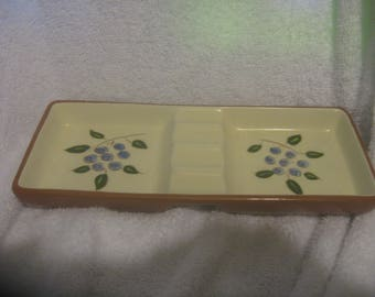 "Rare STANGL BLUEBERRY ASHTRAY 8 1/2"" Long"