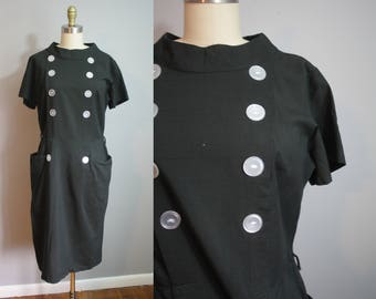 1950s Cotton Dress // Double Breasted Buttons // Large