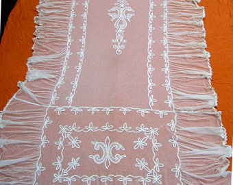 """Antique Tambour French net lace coverlet 110"""" x 76"""""""