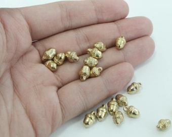 RAW BRASS acorn charm, RBX-04, 20 pcs, 11x7mm