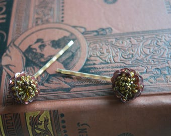 Vintage Sequined Bobby Pins, OOAK Upcycled Hair Pins, Hair jewelry for her, Bridesmaid gift