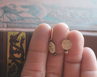 Antique Victorian Gold fill Dangle Earrings, Etched Goldfill Pierced Earrings, Jewelry gift for her
