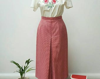 Vintage St. Michael Red Dog-Tooth Check Pencil Skirt
