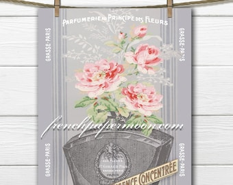 Digital French Perfume, Parfumerie, Shabby Wallpaper Flowers, Instant Download, French Pillow, Scrapbooking, Large Image
