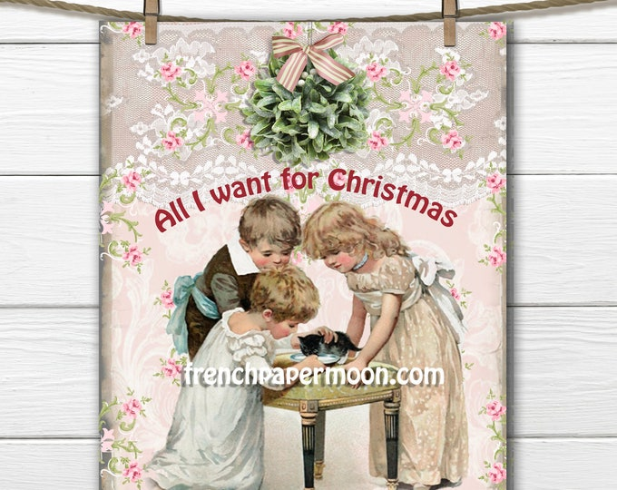 Adorable Shabby Kitten, Cat Christmas Digital, Christmas Pillow, Vintage Children, Mistletoe, Pink Christmas, Christmas Pillow, Crafts