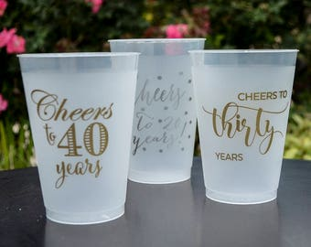 Customizable Cheers to 40 Years Shatterproof Cups, Cheers to 30 Years, Personalized Birthday Cups, Plastic Party Cups, Printed Frost Flex