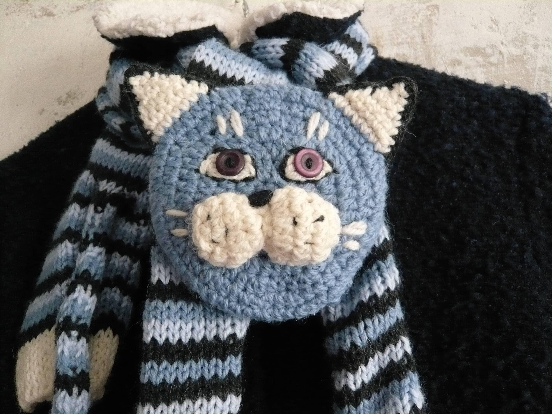 Striped cat scarf, Kid fun scarf, Blue cat knitted scarf, handmade ...