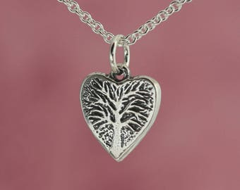 Tiny Sterling Silver Heart Charm – Valentine Gift – Tree of Life Heart Necklace – Valentines Day Gift Heart Jewelry Valentine's Day Jewelry