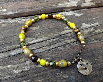 """hoa"" Czech glass bracelet, Tiger eye, Crystal"