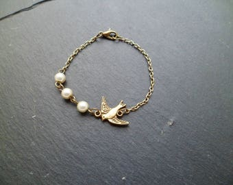 "Bracelet ""bird and Pearl"" romantic and trendy"