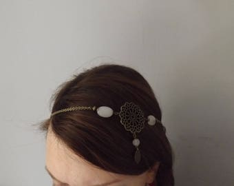 "original headband ""fadilah"" rose quartz and brass"