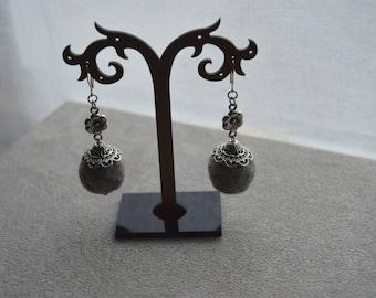 "Earrings ""Grey"" cotton beads, silver tone findings"