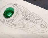 Hand tooled leather cuff bracelet with malachite