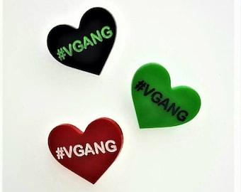 VGANG vegan heart pin