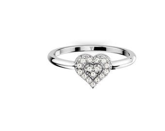 14k white gold, Heart shape Ring With 18 Daimomd of 1 MM , 0.10 CTW, tiny ring, Diamond Heart ring