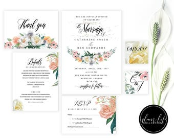 watercolor pastel flowers, roses wedding invite, invitation clean, galm modern minimal ,luxury elegant, floral RSVP , floral thank you card