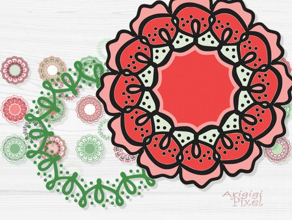 retro flowers clip art set - funky wreaths photoshop elements - small business use - Christmas colors clipart - download