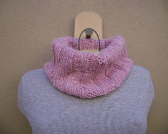 Pink Cowl Scarf. Circle Scarf. Tube Scarf. Hand Knit. Neck Warmer.
