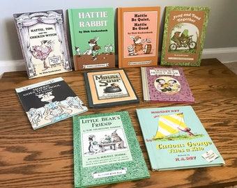 Vintage Children's Book Lot of 9 Hardback Picture Books 1960's 70's Curious George Frog and Toad Little Bear Arthur Mouse Soup Morris School