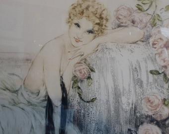 Glamourous ORIGINAL COLOUR ETCHING by Louis Icart. Le Belle Rose (1933). Pencil Signed