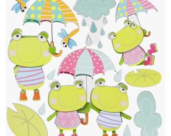 XXL stickers, frogs, 3D, 1 sheet (862)