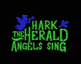 Hark The Herald Angels Sing Embroidery Designs - Instant Download Filled Stitches Design D1015