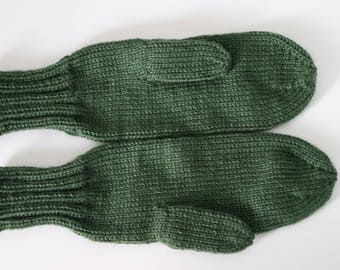 Green Mittens for Adults - Dark Green Ladies Mittens - Dark Sage Knit Mittens - Green Mittens - Green Winter Accessories