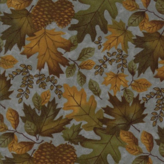 Burnt Orange Leaves and Pinecones on Sky Blue In Flannel From Holly Taylor Fall Impressions Moda Fabric By The Yard 6701 15F