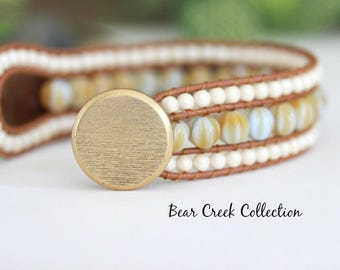 Beaded Leather Cuff, Honey, Caramel, Soft Blue, Neutral, Bohemian Bracelet, 3 Row, Leather Jewelry, Boho Jewelry, Leather Wrap Bracelet