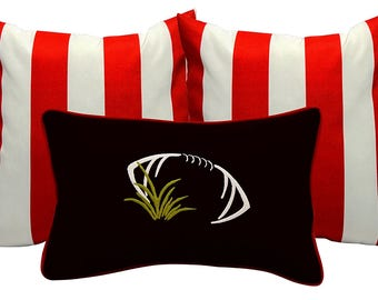 Touchdown Decorative Lumbar Football Throw Pillow Set in your Favorite Team's Colors (Black, Red & White)