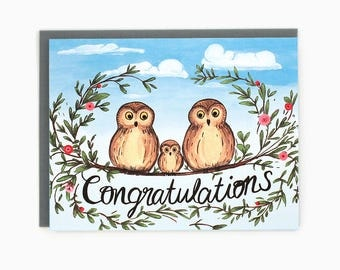New Baby card - Congratulations new baby - owl family - flowers / BAB-OWLS