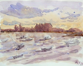 """Landscape original watercolor """"View of Barfleur, Normandy"""" painting countryside decor france sea decor wall france french art sea normandy"""