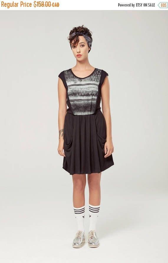 SOLDE ANDROMÈDE - sleeveless skater dress, empire waist, flared dress for women - black with edgy and grunge silkscreen
