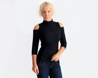 Cut Out Shirt, Off Shoulder Top, Black Turtleneck, Black Top, Cocktail Blouse, Black Party Shirt, Long Sleeve Top, Sexy Shirt, Evening Top