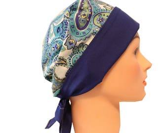 Medical Hat Surgical Scrub Cap Chemo Vet Nurse Dr Hat Front Fold Pixie Style Blue Green Paisley   2nd Item Ships FREE