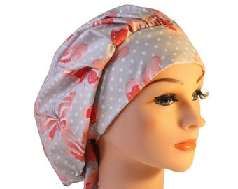 Scrub Cap Surgical Hat Chef   Dentist Hat Tie Back Bouffant Peach Grey Butterflies 2nd Item Ships FREE