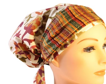Scrub Hat Cap Chemo Bad Hair Day  European BOHO Banded Pixie Tie Back Rust Olive Floral Brown Glitter Stripe Band  2nd Item Ships FREE
