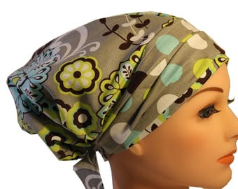 Scrub Hat Cap Chemo Bad Hair Day Hat  European BOHO Banded Pixie Tie Back Lime Grey Paisley Dots Band  2nd Item Ships FREE