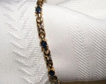 Lovely Blue Sapphire Tennis Bracelet 14K