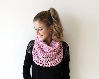 SALE Knit Scarf Chunky Cowl Pink - The Ellicott Cowl